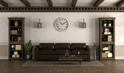 Retro style living room with leather sofa