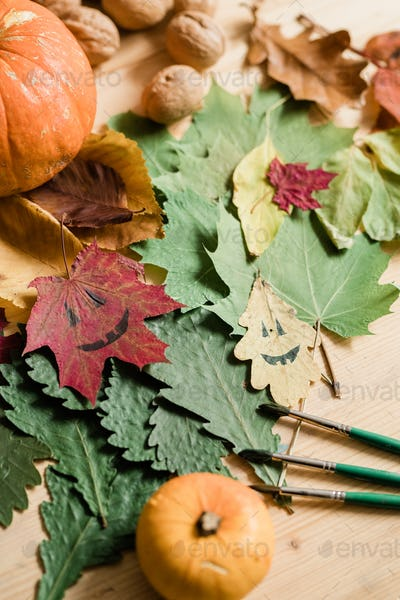 Dry foliage, pumpkins, walnuts, drawn faces on leaves and three paintbrushes