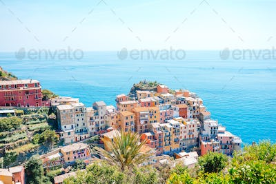 Amazing view of the beautiful village of Manarola in the Cinque Terre Reserve