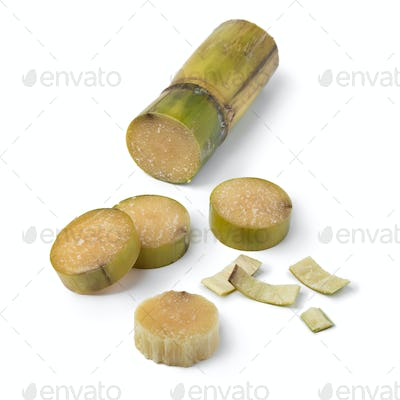 Sugar cane cut into pieces