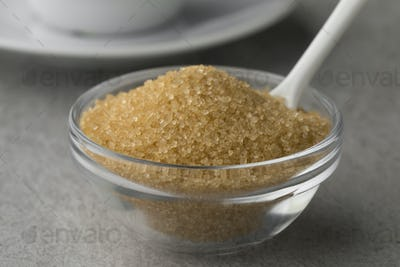 Bowl with brown cane sugar