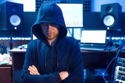 Hacker in hood, network criminal, internet spy