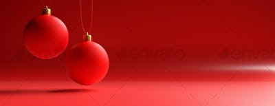 Xmas balls against red color curved background, banner. 3d illustration