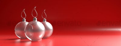Xmas balls glass against red color curved background, banner. 3d illustration