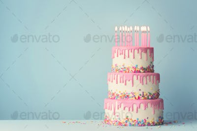 Tiered birthday cake