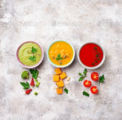 Set of different vegetable cream soups