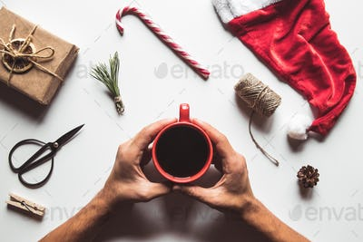Cup of coffee with sweets for Christmas, festive mood, New Year