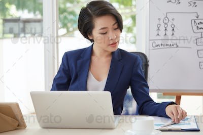 Businesswoman working at her workplace