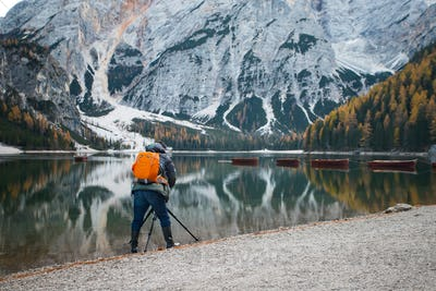 Tourist at Lake Braies, one of the most beautiful lakes in the D