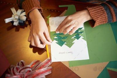 Making Christmas greeting card