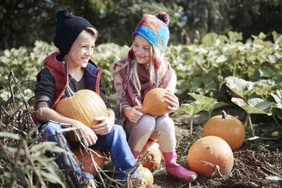 Happy siblings with autumn pumpkins