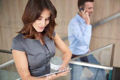High angle view on working business partners