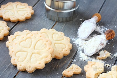 Homemade gluten free shortbread cookies with scoops of gluten free flour
