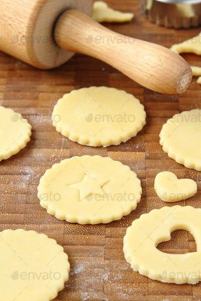Process of baking homemade shortbread cookies