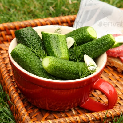 Homemade fresh salted cucumbers in the bowl on wicker tray