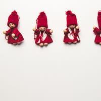 Christmas tree toys handmade. Top view. New Year decoration. Christmas ornaments