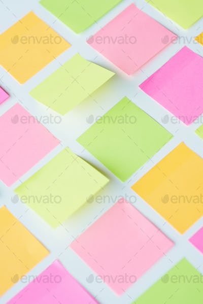 Plenty of adhesive notes sticked on the table
