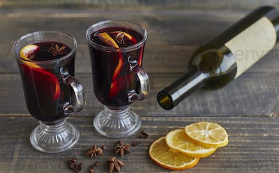 Glasses of mulled wine for Christmas