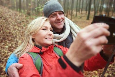Selfie taken in the forest