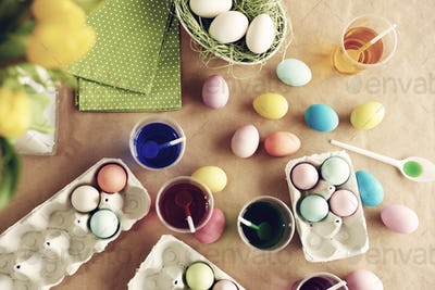 Five of dye colors used for Easter eggs