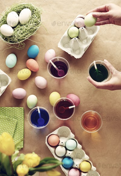 High angle view of homemade Easter eggs