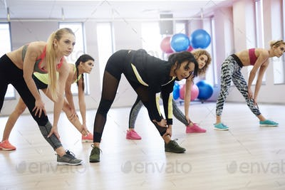 Group of women working out in exercise class