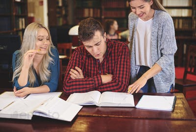 Students studying for exam in library