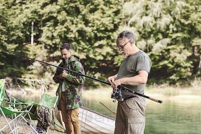 Men make preparations for fishing