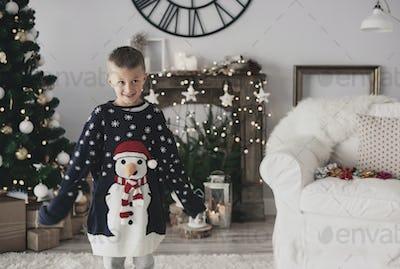 Portrait of a boy wearing oversized a jumper
