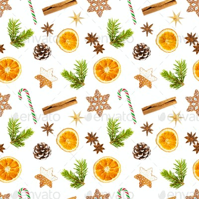 Christmas seamless pattern isolated on white background.