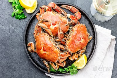 Cooked crabs on black plate served with white wine, black slate background, top view.