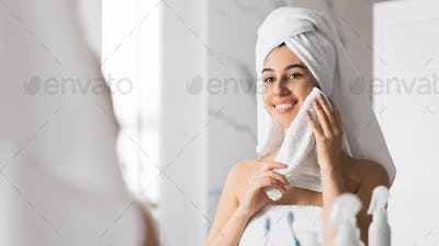 Smiling Young Lady Drying Face With Towel Standing In Bathroom, Panorama