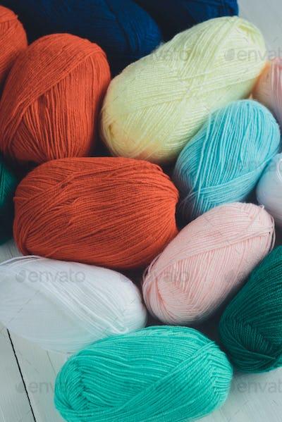 colorful oval acrylic yarn wool thread skeins