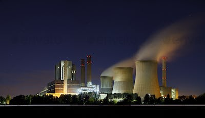 Brown Coal Power Station At Night