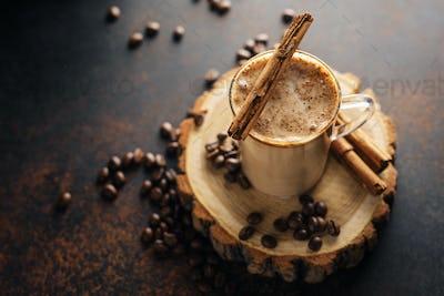Coffee cinnammon drink with milk