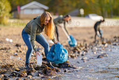 Young volunteers cleaning beach on sunny day