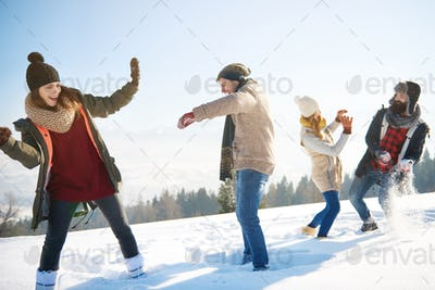 Snow fight in the sunny winter day