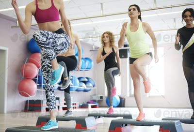Step aerobics in health club