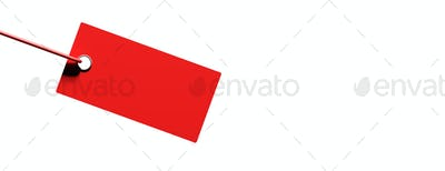 Red cardboard price label isolated against white. 3d illustration