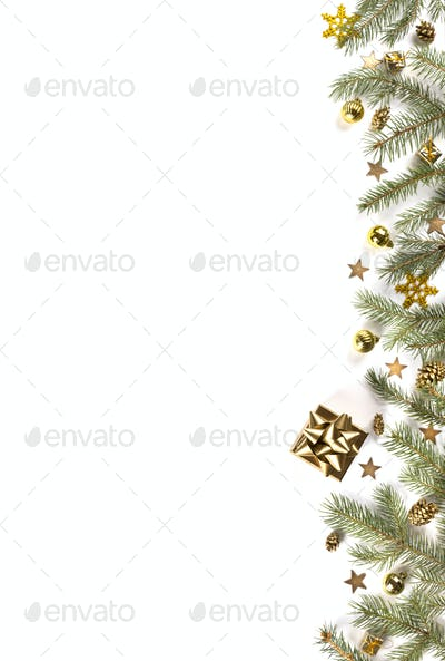 Christmas Flat Lay Background.