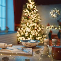 kitchen  decorated for holidays.