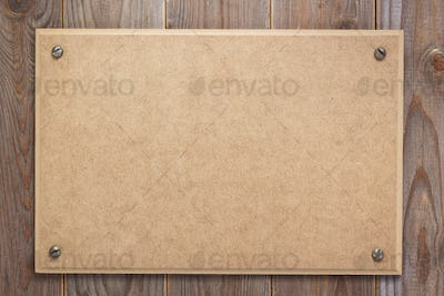 nameplate at wooden background