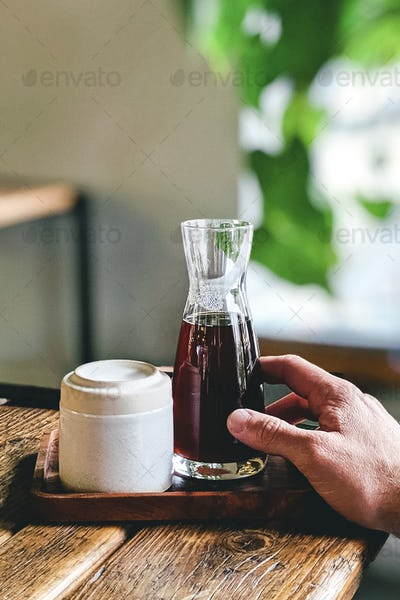 Filtered coffee in a glass