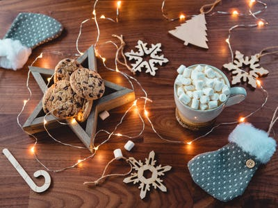 Christmas or New Year  flat lay. Hot chocolate with marshmallow