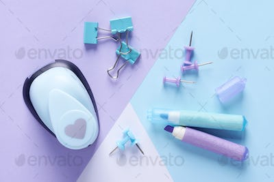 Office supplies in pastel colors