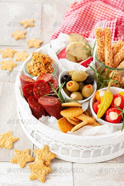 Colorful antipasti and cheese