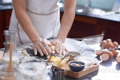 Kneading cookie dough