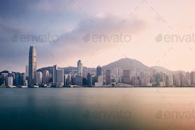 Urban skyline of Hong Kong at sunset