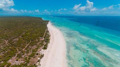 aerial view of the matemwe coastline, Zanzibar