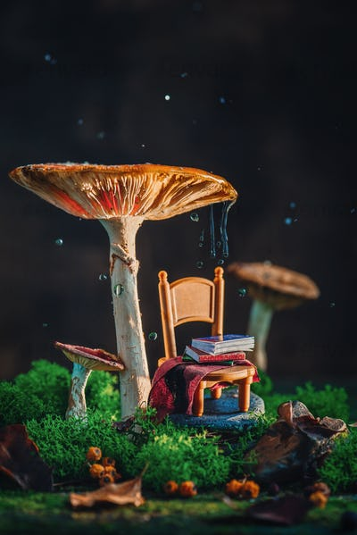 Tiny chair with plaid and a stack of books under a gigantic mushroom with moss and raindrops
